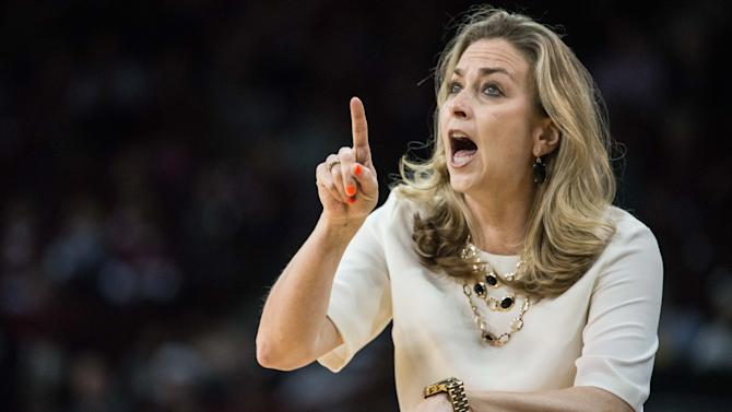 Florida head coach Amanda Butler communicates with her team during the first half of an NCAA college basketball game against South Carolina Thursday, Feb. 11, 2016, in Columbia, S.C. (AP Photo/Sean Rayford)
