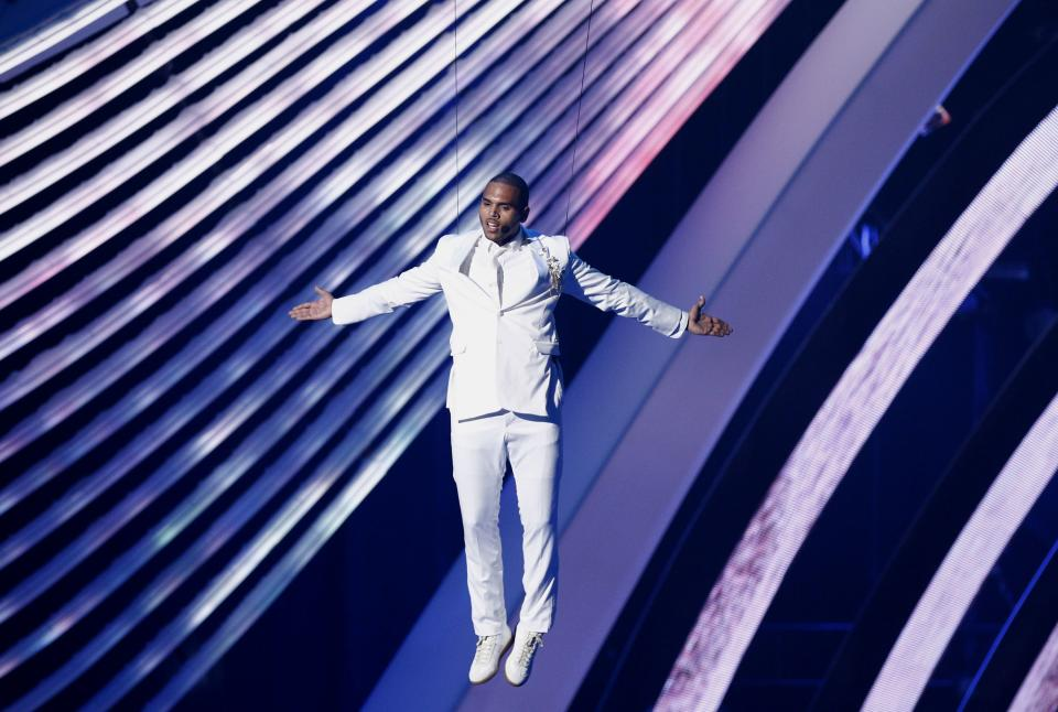 Chris Brown performs at the MTV Video Music Awards on Sunday Aug. 28, 2011, in Los Angeles. (AP Photo/Matt Sayles)