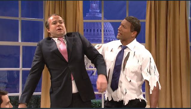 Dwayne Johnson Hulks Out as President 'The Rock' Obama on 'SNL'