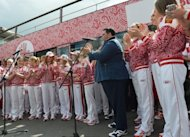 Head of Bosco di Ciliegi group of companies, Mikhail Kusnirovich (3rd R), attends the official presentation of the Russian team's London 2012 kit