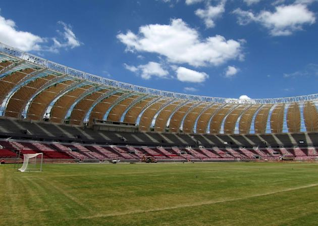 The pitch is seen inside the Estadio Beira-Rio stadium as work continues in preparation for the 2014 World Cup soccer championship in Porto Alegre