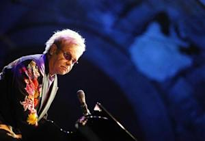 Pop singer Elton John performs for the Piedigrotta festival at Plebiscito Square in Naples