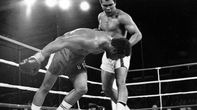 "1. Muhammad Ali KO8 George Foreman, Oct. 30, 1974 – The bout was known as ""The Rumble in the Jungle,"" and was held in Kinshasa, Zaire, now known as The Congo. Ali was seen as on the downside of his career and many were worried he'd be seriously injured. It was in this fight that Ali pulled out the ""Rope-a-Dope"" strategy. He leaned back against the ropes, covering up and allowing Foreman to punish him. Once Foreman tired, Ali opened up and knocked Foreman out in the eighth to win the title a second time. (Photo credit: AP)"