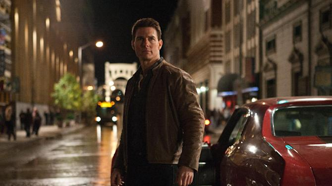 "In this publicity photo provided by Paramount Pictures, actor Tom Cruise, center, is Jack Reacher in film, ""Jack Reacher,"" from Paramount Pictures and Skydance Productions. Paramount Pictures has released the trailer for Cruise's crime drama ""Jack Reacher,"" which opens Dec. 21. The trailer launched with Tuesday's debut of ""The Amazing Spider-Man."" (AP Photo/Paramount Pictures, Karen Ballard)"