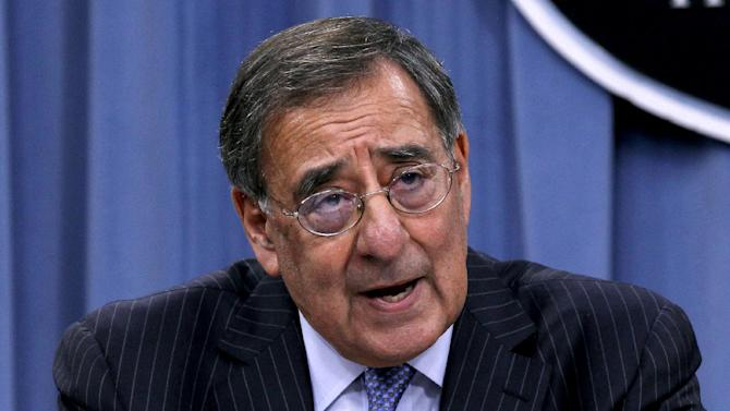 Defense Secretary Leon Panetta outlines the main areas of proposed spending cuts during a news conference at the Pentagon, Thursday, Jan., 26, 2012. (AP Photo/Pablo Martinez Monsivais)
