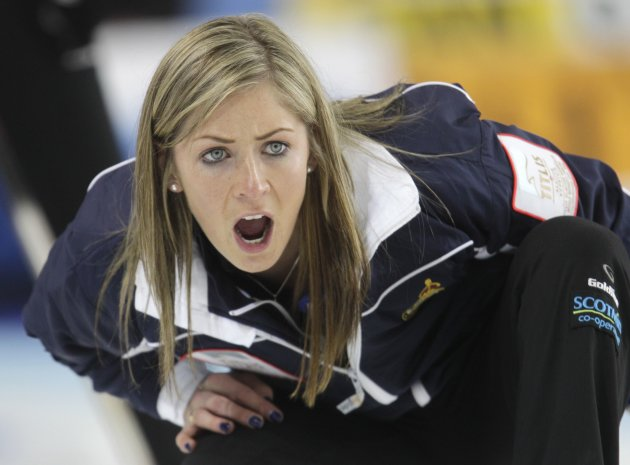 Scotland's skip Muirhead shouts during their World Women's Curling Championship qualification round match against Japan in Riga