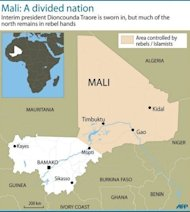 Map of Mali showing the northern half of the country controlled by Islamists and Tuareg rebels. Mali's Tuareg rebels clashed overnight with their former Islamist allies, witnesses said Friday, after the two groups fell out over forming a breakaway state in the northern desert region they control