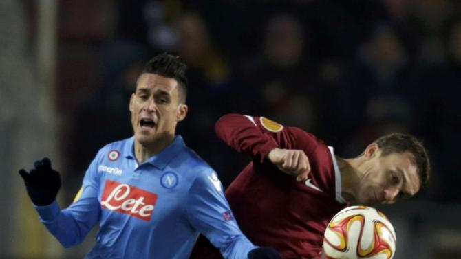 Sparta Praha's Lafata fights for the ball with Napoli's Callejon during their Europa League soccer match at Stadion Letna in Prague