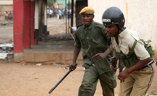 Zambian police patrol the streets of Lusaka. Zambian coal miners have killed a Chinese mine manager and injured his colleague in a riot over wages at a mine known for tensions with the Chinese investor in southern Zambia, state media reported.