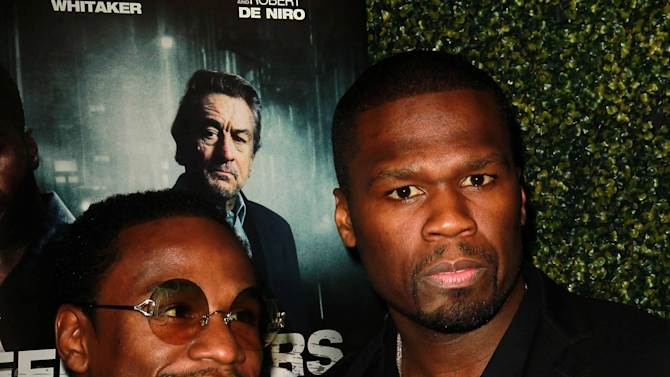 Floyd Mayweather Jr. and 50 Cent aka Curtis Jacksonattends the Lionsgate Home Entertainment and Grindstone VIP screening of