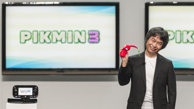 Shigeru Miyamoto, senior manager director of Nintendo Co., Ltd.,  introduces the Wii U at the Nintendo All-Access presentation at the E3 2012 in Los Angeles Tuesday, June 5, 2012. The Electronic Entertainment Expo runs from June 5-7 in Los Angeles. (AP Photo/Damian Dovarganes)