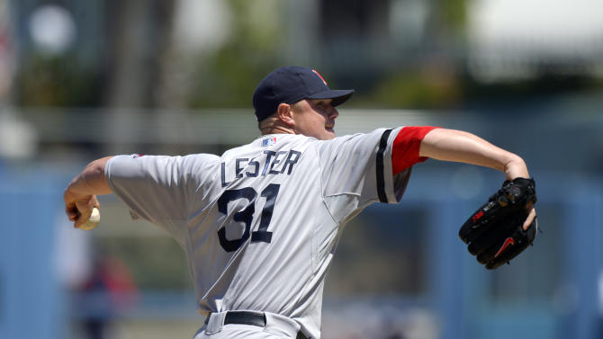 Boston Red Sox starting pitcher Jon Lester throws to the plate during the first inning of a baseball game against the Los Angeles Dodgers, Saturday, Aug. 24, 2013, in Los Angeles. (AP Photo/Mark J. Terrill)