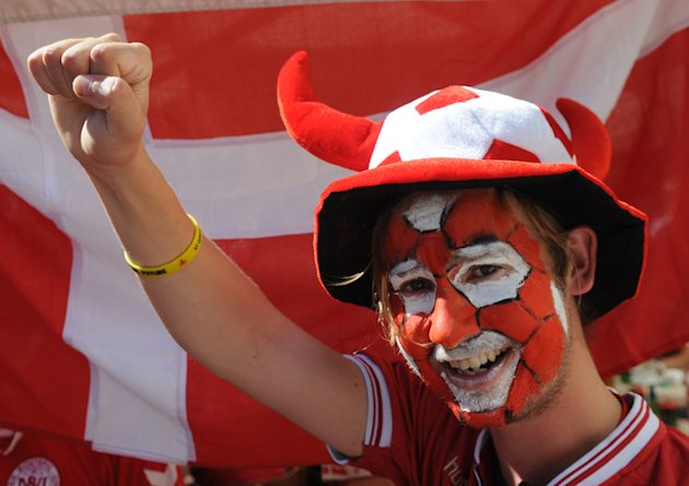 Danish Fans Pose In Lviv's Main Square Prior To The Group B Clash Germany Vs Denmark At The Euro 2012 Football AFP/Getty Images
