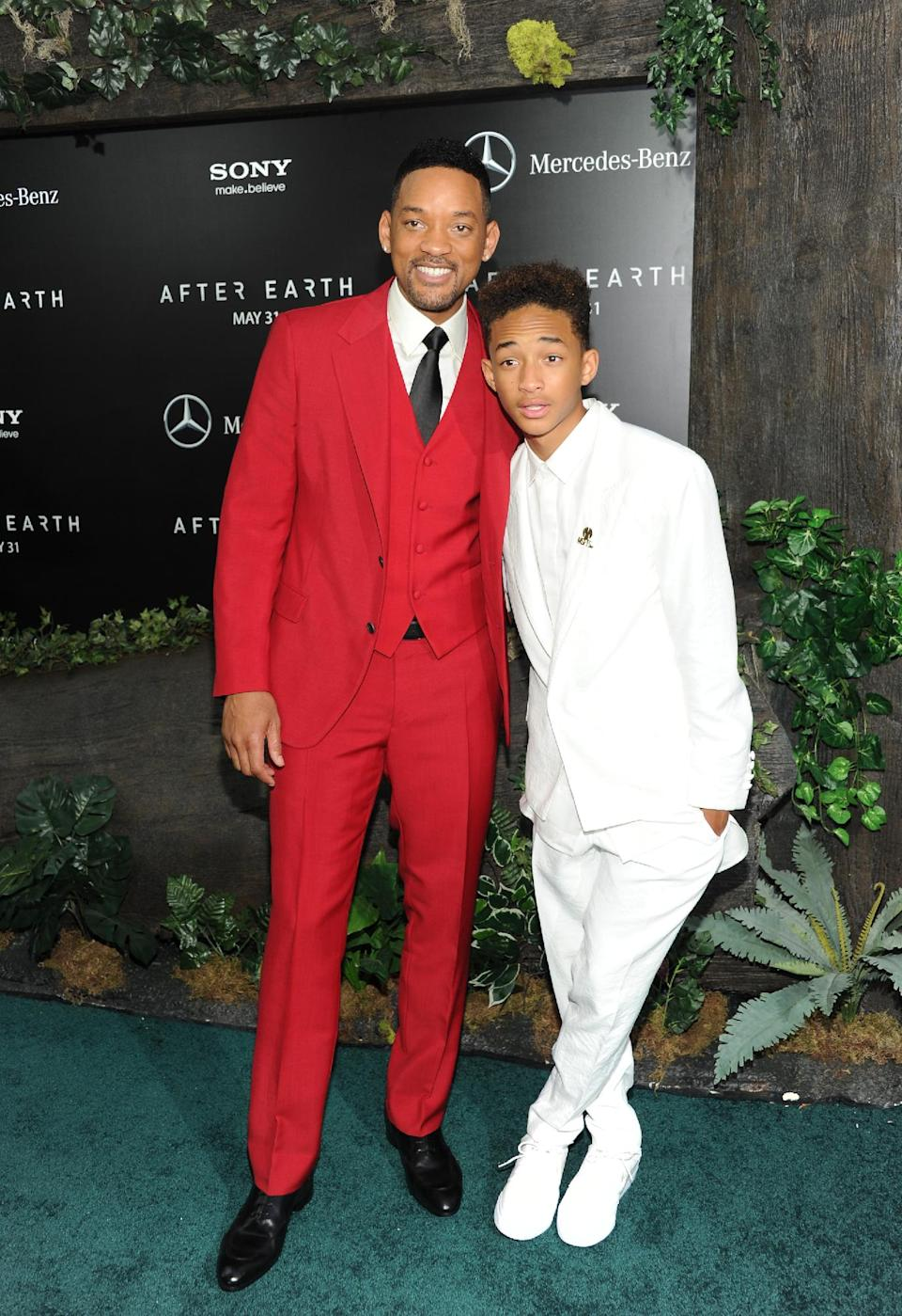 "Actors Will Smith, left, and Jaden Smith attend the ""After Earth"" premiere at the Ziegfeld Theatre on Wednesday, May 29, 2013 in New York. (Photo by Evan Agostini/Invision/AP)"