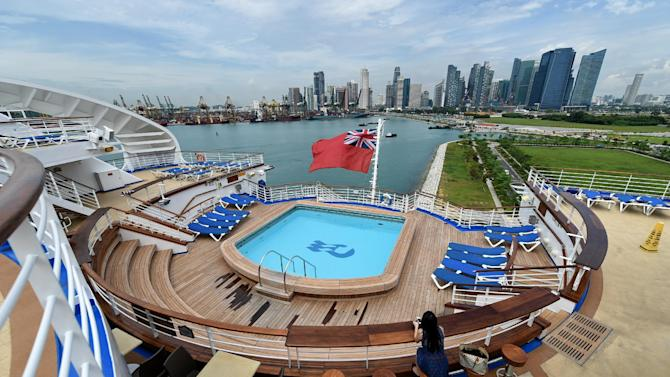 A view from the top deck of the Sapphire Princess cruise ship docked at the Marina bay cruise centre in Singapore on November 27, 2014 before its departure.