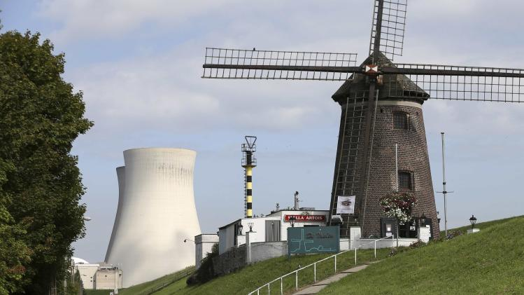 A windmill is seen near the Doel's nuclear plant in northern Belgium