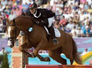 Czech Republic&#39;s David Svoboda competes in the show jumping event of the modern pentathlon during the 2012 London Olympics at the Equestrian venue in Greenwich Park, Londo