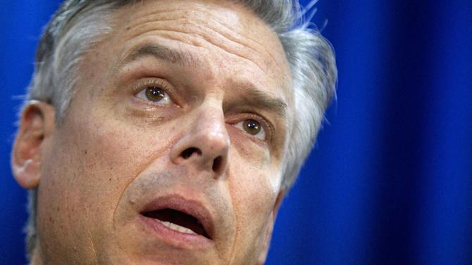 FILE - In a Jan. 16, 2012 file photo , former Utah Gov. Jon Huntsman holds a news conference in Myrtle Beach, S.C.   Huntsman is helping launch a new monthly radio talk show on SiriusXM Wednesday  May 15, 2013, aimed at promoting bipartisan politics.  (AP Photo/David Goldman, file)