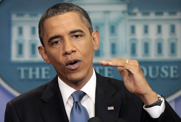 President Barack Obama talks about the ongoing budget negotiations, Monday, July 11, 2011, in the briefing room of the White House in Washington. (AP Photo/Pablo Martinez Monsivais)