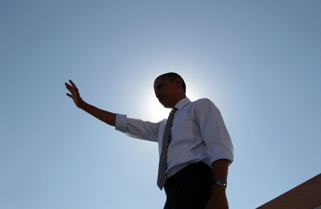 President Barack Obama is silhouetted on stage after speaking at Abraham Lincoln High School, Tuesday, Sept., 27, 2011, in Denver. (AP Photo/Pablo Martinez Monsivais)