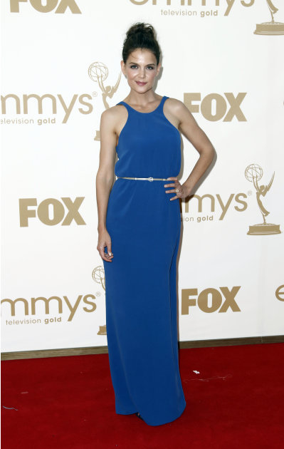 Katie Holmes arrives at the 63rd Primetime Emmy Awards on Sunday, Sept. 18, 2011 in Los Angeles. (AP Photo/Matt Sayles)