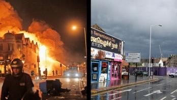 In this composite image (Left Photo) Firefighters battle a large fire that broke out in shops and residential properties in Croydon on August 9, 2011 in London, England. (Right Photo) The scene in Croydon, one year on from the riots. August 6th marks the one year anniversary of the England riots, over the course of four days several London boroughs, and districts of cities and towns around England suffered widespread rioting, looting and arson as thousands took to the streets. (Dan Kitwood/Peter Macdiarmid/Getty Images)
