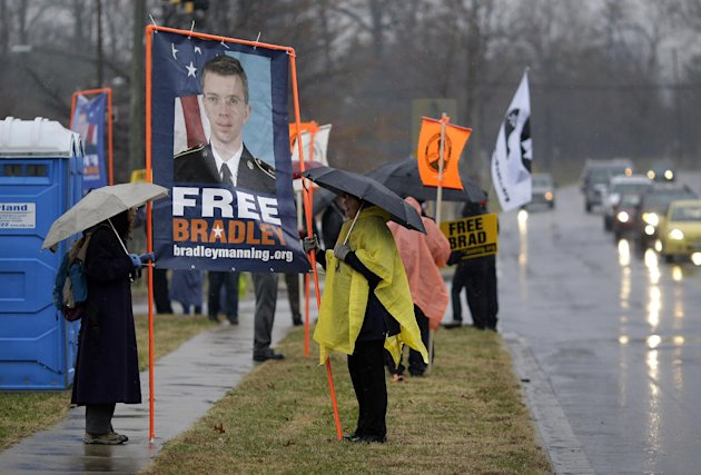 Demonstrators stand in support of Army Pfc. Bradley Manning outside of Fort Meade, Md., Tuesday, Nov. 27, 2012, where Manning is scheduled to appear for a pretrial hearing. Manning is charged with aid