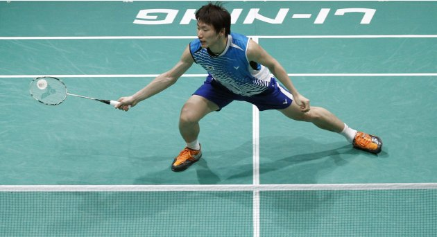 South Korea's Lee plays a shot during single match against Thailand's Boonsak at the semi-finals of the Sudirman Cup World Team Badminton Championships in Kuala Lumpur