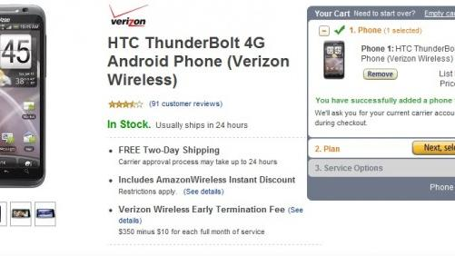 HTC ThunderBolt on sale for $174.99