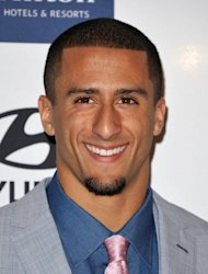 San Francisco 49ers football player Colin Kaepernick arrives at the Clive Davis Pre-GRAMMY Gala on Saturday, Feb. 9, 2013 in Beverly Hills, Calif. (Photo by John Shearer/Invision/AP)