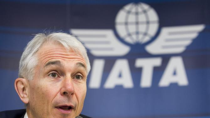 FILE - In this March 20, 2012 file photo Tony Tyler, Director General and CEO of the International Air Transport Association, IATA, speaks during a press conference in Geneva, Switzerland.Tyler told reporters Wednesday, March 20, 2013, that US dollar 130 per barrel of jet fuel now seems likely for the remainder of the year, adding US dollar 6 billion to the US dollar 210 billion fuel bill for 2013 that airlines had expected. (AP Photo/Keystone, Salvatore Di Nolfi, File)