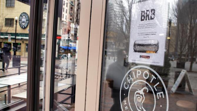 A sign informing patrons that Chipotle Mexican Grill will be closed for lunch and opening late due to an employee meeting on food safety hangs on the door of the restaurant in Pittsburgh's Market Square, Monday, Feb. 8, 2016. (AP Photo/Keith Srakocic)