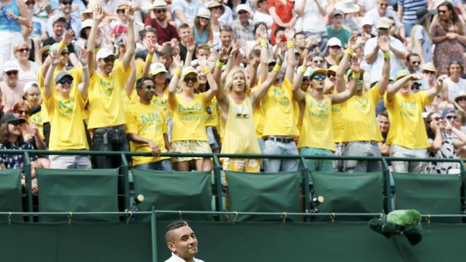 Nick Kyrgios of Australia in front of Australia fans during his match against Juan Monaco of Argentina at the Wimbledon Tennis Championships in London