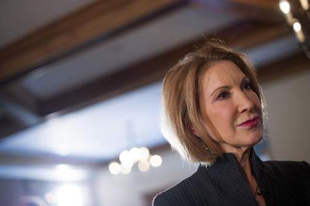 "Former Hewlett-Packard Chief Executive Fiorina listens to a question from the media after speaking at the New England Council's ""Politics and Eggs"" breakfast in Bedford"
