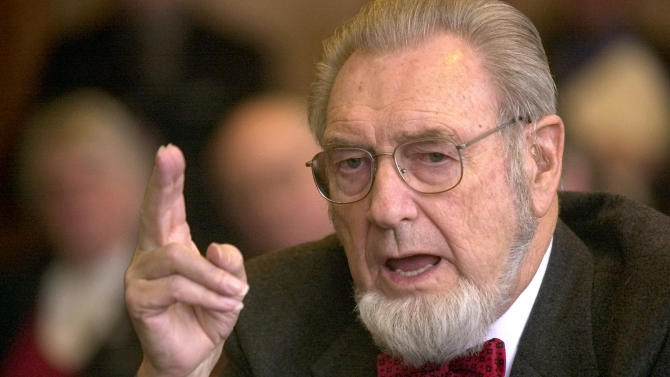 FILE - In this Feb. 12, 2002 file photo, former U.S. Surgeon General, Dr. C. Everett Koop testifies in Concord, N.H. Koop, who raised the profile of the surgeon general by riveting America's attention on the then-emerging disease known as AIDS and by railing against smoking, has died in New Hampshire at age 96. (AP Photo/Jim Cole, File)