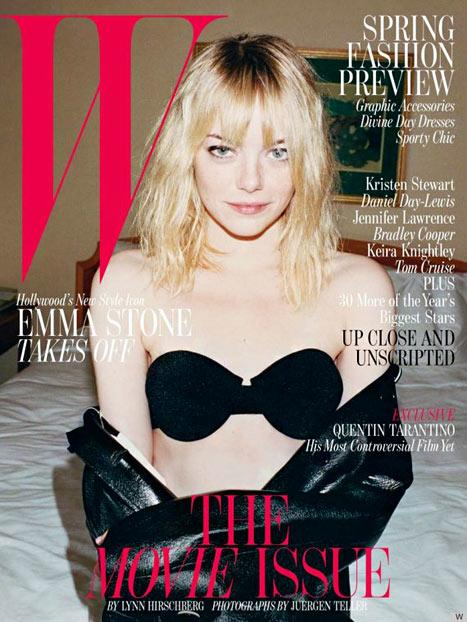 Emma Stone Looks Disheveled, Strips Down to Bra on W Magazine Cover