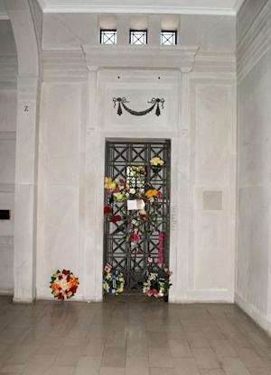 In this undated image released by Julien's Auctions, shows singer Elvis Presley's Crypt in the Forest Hill Cemetery in Memphis, Tenn.,  that will be auctioned as part of Music Icons June 23rd & 24th, 2012, at Julien's Auctions in Beverly Hills, Calif. Presley was interred there alongside his mother, Gladys, after he died Aug. 16, 1977. They were later reburied at his Graceland home. (AP Photo/Julien's Auctions)