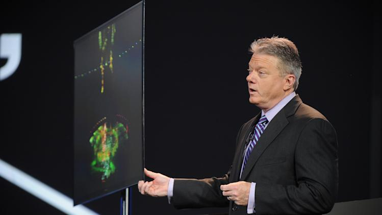 """CEO of Panasonic North  America, Joe Taylor, introduce the new 56"""" 4k OLED Television seen at the International Consumer Electronics Show 2013, on Tuesday, January 8, 2013, Las Vegas, NV during the Panasonic Keynote presentation (Photo by Al Powers/Invision for Panasonic/AP Images)"""