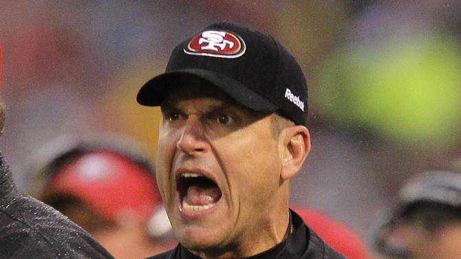 San Francisco 49ers head coach Jim Harbaugh reacts to a call during the first half of the NFC Championship NFL football game against the New York Giants Sunday, Jan. 22, 2012, in San Francisco. (AP Photo/Julie Jacobson)