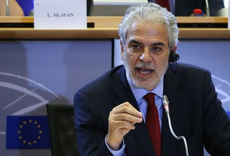 Humanitarian Aid and Crisis Management European Commissioner-designate Christos Stylianides of Cyprus addresses the European Parliament's Committee on Development, in Brussels