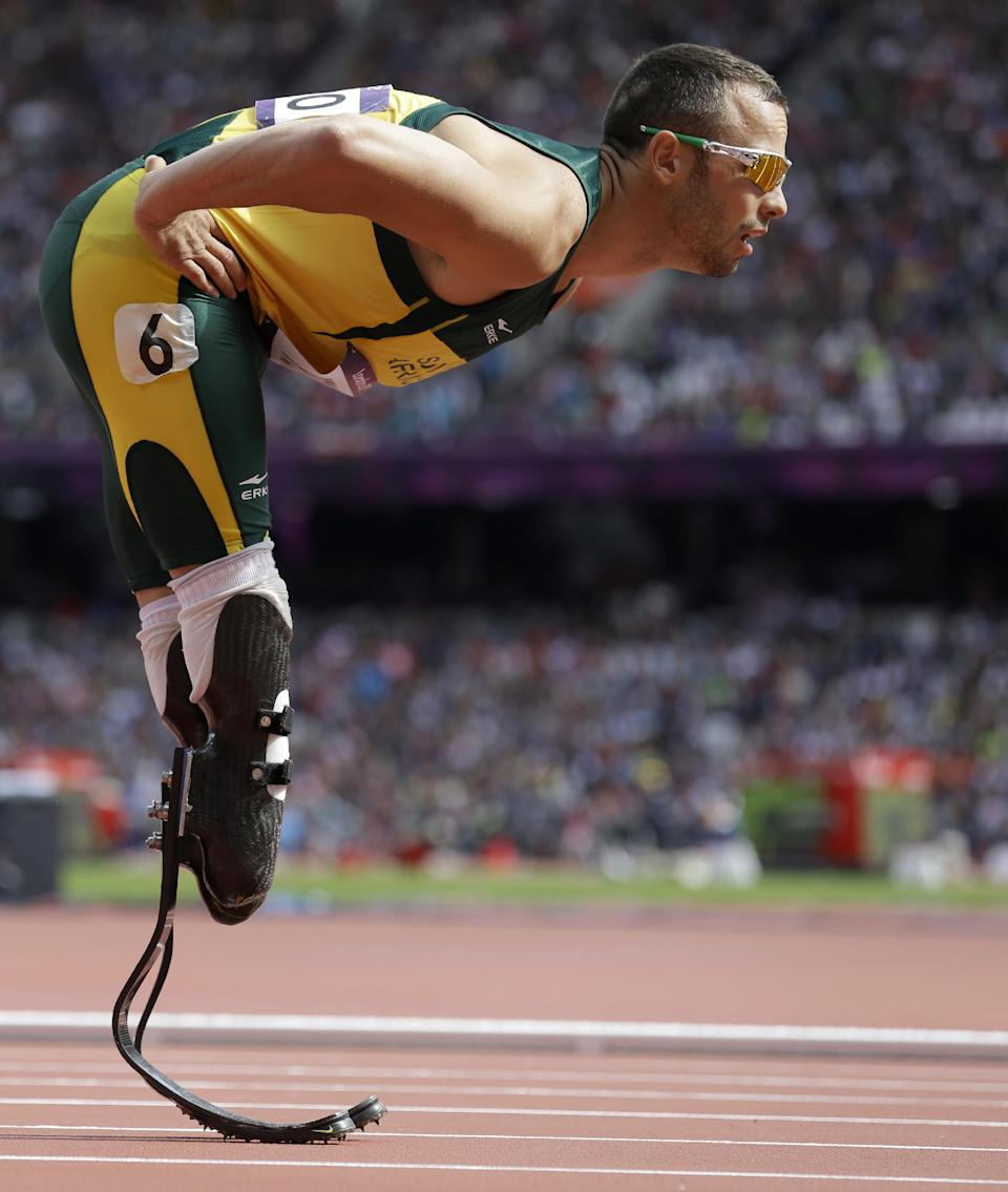 South Africa's Oscar Pistorius prepares to compete in a men's 400-meter heat during the athletics in the Olympic Stadium at the 2012 Summer Olympics, London, Saturday, Aug. 4, 2012.(AP Photo/Anja Niedringhaus)