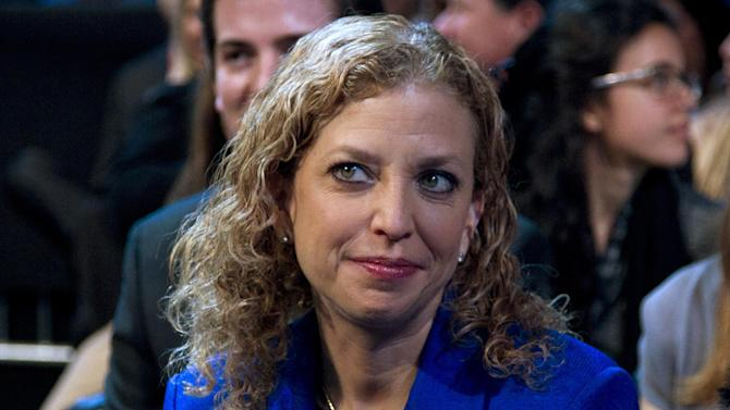 FILE - In this March 4, 2012 file photo, Democratic National Committee Chair, Rep. Debbie Wasserman Schultz, D-Fla. is seen at the Washington Convention Center in Washington. Democrats are eagerly renewing their fight against privatizing Social Security now that Republican presidential candidate Mitt Romney has picked Paul Ryan as his running mate. It was a fight that didn't go well for the GOP back when former President George W. Bush pushed the idea in 2005.  (AP Photo/Carolyn Kaster, File)