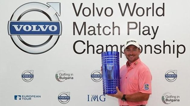 Graeme McDowell of Northern Ireland poses with the trophy aftre winning the Volvo World Match Play Championship at Thracian Cliffs Golf & Beach Resort (Getty)