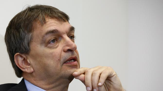 FIFA presidential candidate Jerome Champagne looks up during a Reuters interview in Zurich