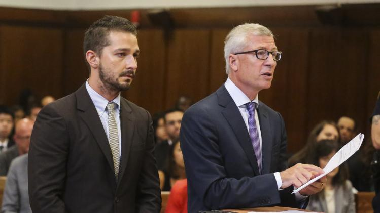 Actor Shia LaBeouf attends a hearing at the Manhattan Criminal Court in New York