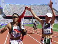 Mexican athlete Noe Hernandez (R) has been seriously wounded in a shooting near Mexico City