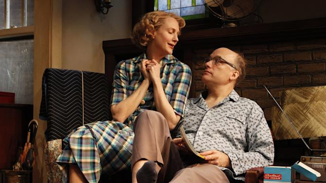 """In this theater publicity photo released by The Publicity Office, Christina Kirk, left, and Frank Wood are shown in a scene from Bruce Norris' """"Clybourne Park,"""" at Playwrights Horizons in New York. The production is nominated for best play at the Tony Awards, airing Sunday, June 10 on CBS. (AP Photo/The Publicity Office, Joan Marcus)"""