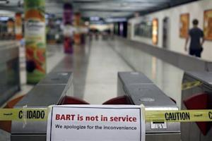A sign is shown blocking the entrance to the Powell Street station of the Bay Area Rapid Transit (BART) in San Francisco