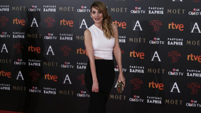 Actress Ballesteros poses on the red carpet before the Spanish Film Academy's Goya Awards ceremony in Madrid