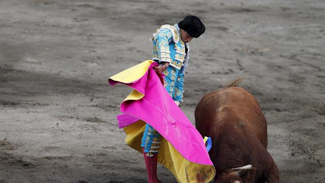 Peruvian Andres Roca Rey performs a pass to a bull during a bullfight at Peru's historic Plaza de Acho bullring in Lima